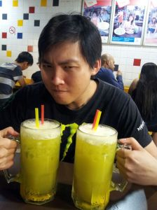 Mark with Sugar Cane Juice to illustrate the 'haweker' in hawkerize