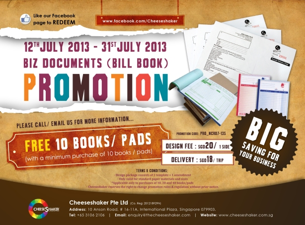 Promotion on business documents (Cheeseshaker)
